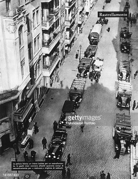 A roundup of the Gestapo in an entire block of the capital in order to find opponents Berlin Germany