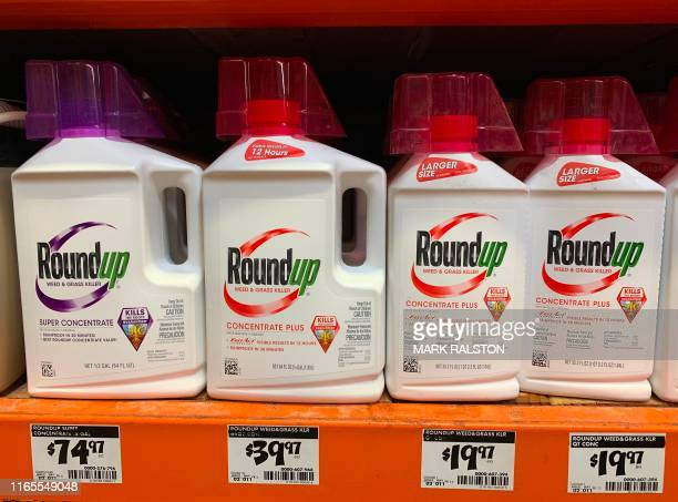 Roundup weed killer that is the subject of thousands of lawsuits in the US is pictured on sale in Los Angeles California on September 1 2019