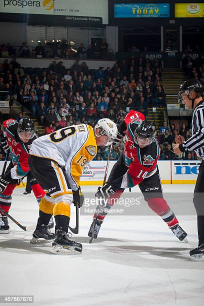 Rourke Chartier of Kelowna Rockets faces off against Nolan Patrick of Brandon Wheat Kings during the first period on October 25 2014 at Prospera...