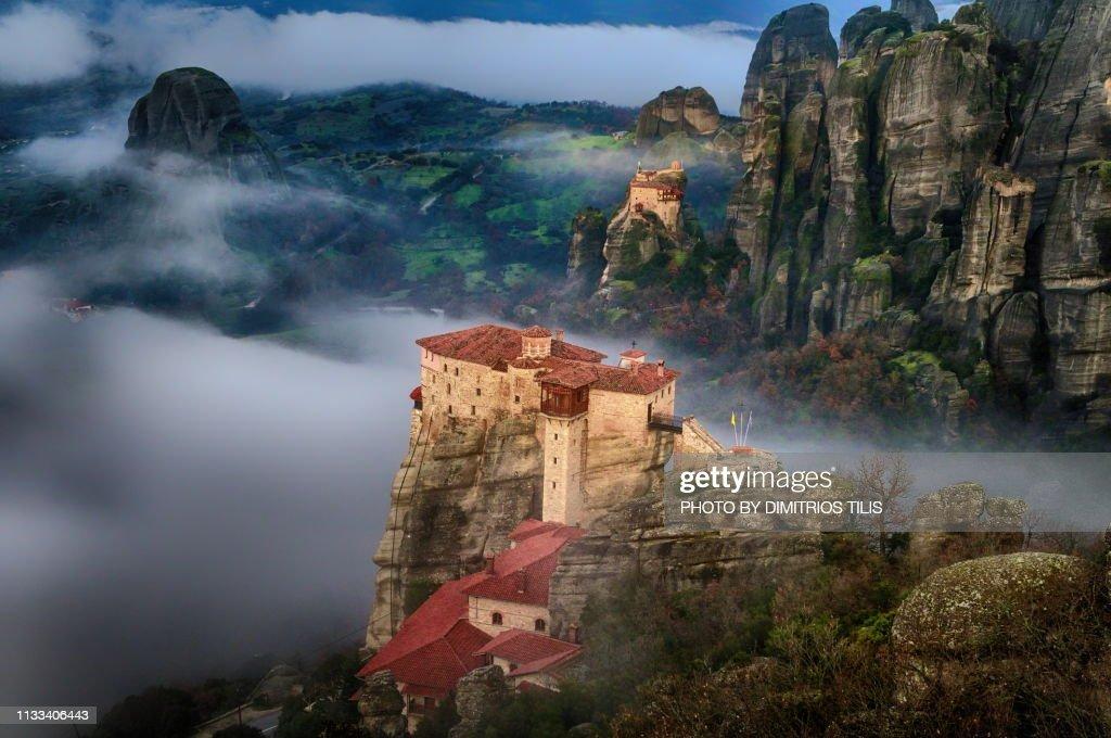 Rousanou  and St Nikolaos Anapafsas  monasteies at  Meteora : Stock Photo
