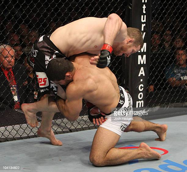 Rousimar Palhares shoots for a takedown against Nate Marquardt at UFC Fight Night at the Frank Irwin Center on September 15, 2010 in Austin, Texas.