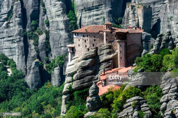 roussanou monastery in meteora, greece - monastery stock pictures, royalty-free photos & images