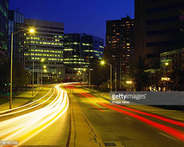 route 1 into stamford, ct, at night - stamford connecticut stock pictures, royalty-free photos & images