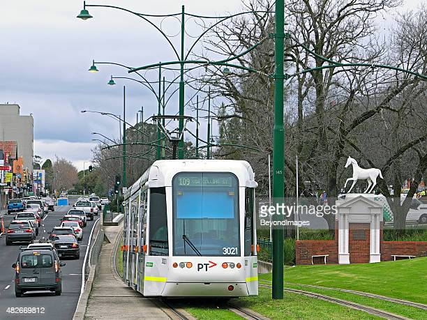 Route 109 tram arriving Box Hill with iconic White Horse
