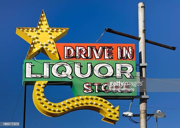 Route 66 Americana Drive in Liquor Store Neon Sign
