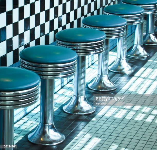 route 66 classic retro diner stools - diner stock pictures, royalty-free photos & images