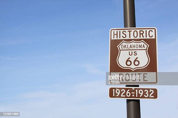 Route 66 Highway Sign in Oklahoma with Blue Sky