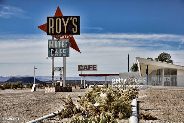 route 66 motel and cafe in amboy california - amboy california stock photos and pictures