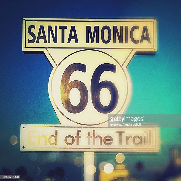 Route 66 sign at Santa Monica Pier