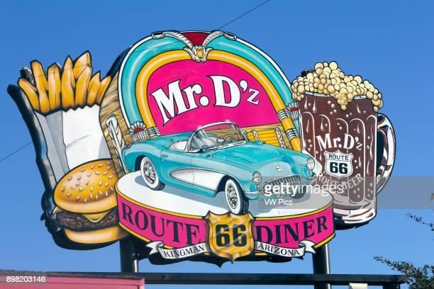 Route 66 Sign for Diner Kingman Arizona USA