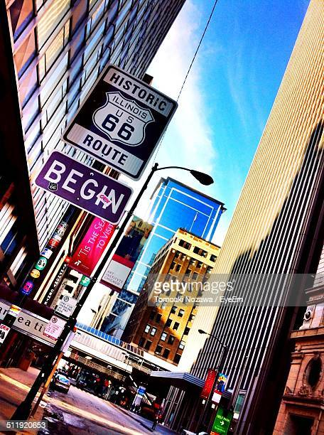 route 66 sign in city - chicago illinois stock photos and pictures