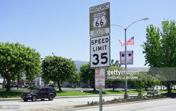 A Route 66 sign is seen along Foothill Drive in Monrovia California on May 18 2017 For decades Route 66 captured the imagination of travelers the...