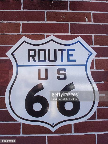 Route 66 Sign On Brick Wall