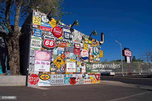 Route 66 signage display.