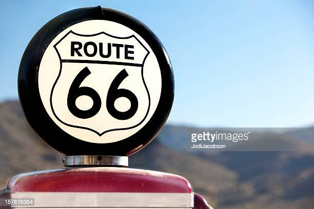 route 66 vintage gas pump - route 66 stock photos and pictures