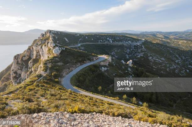 route des cretes landscape with road - cassis stock pictures, royalty-free photos & images