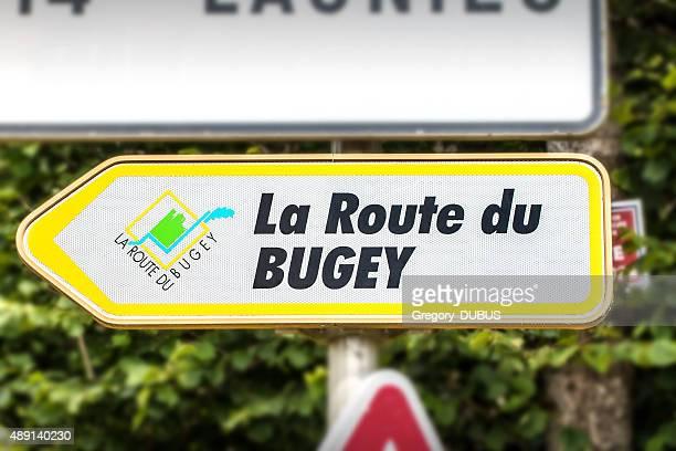 route du bugey road sign in rhone-alpes france in alps - ain bildbanksfoton och bilder