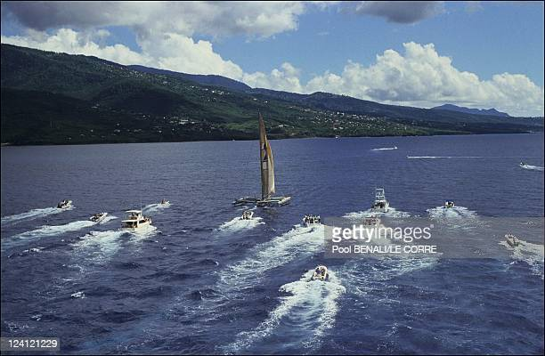 Route du Rhum arrival of Florence Arthaud in Guadeloupe on November 18 1990