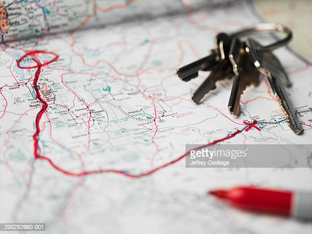 route highlighted in red on road map (digital enhancement) - x marks the spot stock pictures, royalty-free photos & images