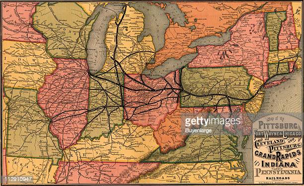Route map of the Pittsburgh Fort Wayne Chicago Cleveland and Pittsburgh Grand Rapids and Indiana and Pennsylvania railroads 1874 Illustration by Rand...