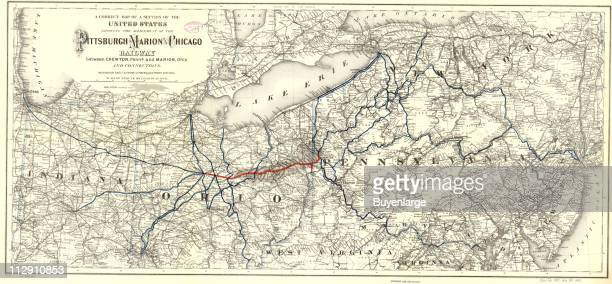 Route map of the Pittsburgh Marion Chicago Railway 1887 Illustration by GW CB Colton Company