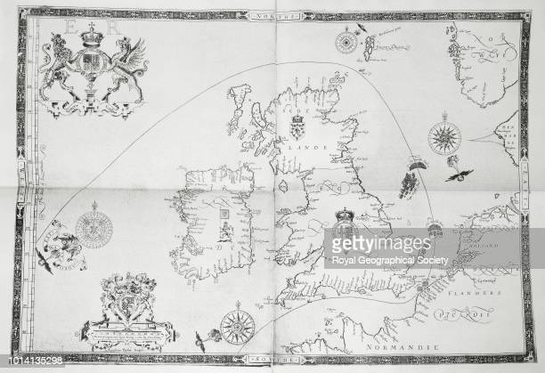 Route of the Armada round the British Isles Engraved Augustine Ryther 1590 From 'Expeditionis Hispanorum in Angliam' Facsmilie edition entitled 'Lord...