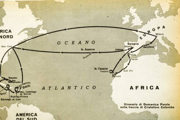 Route of the First Trip of Christopher Columbus. 1492 Pictures ...
