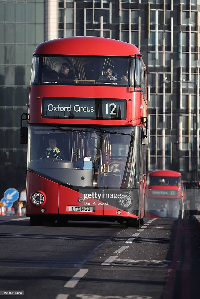 A Routemaster bus 12 to Oxford Circle drives in Westminster on January 5, 2017 in London, England. TFL, Transport for London has confirmed it will 'discontinue' purchases of the new green Routemaster buses.