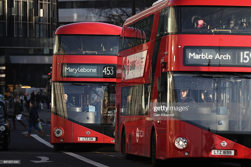 Routemaster bus headed to Marylebone and Marble Arch drive in Westminster on January 5, 2017 in London, England. TFL, Transport for London has confirmed it will 'discontinue' purchases of the new green Routemaster buses.