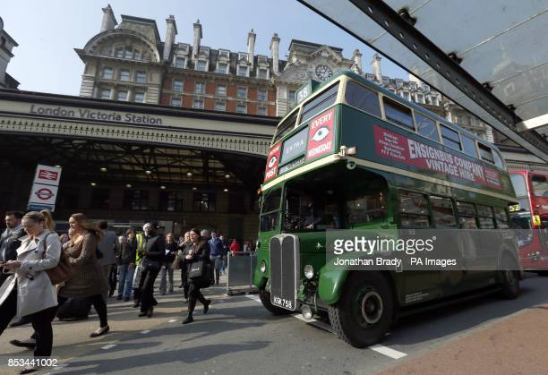 A Routemaster bus outside Victoria station London on the second day of a 48 hour strike by tube workers on the London Underground over ticket office...