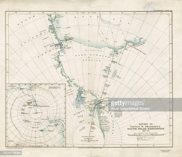 Routes of Captain Roald Amundsen's South Polar expedition 191112 Scale 16000 The inset map shows the track of the 'Fram' and is drawn to scale 180000...