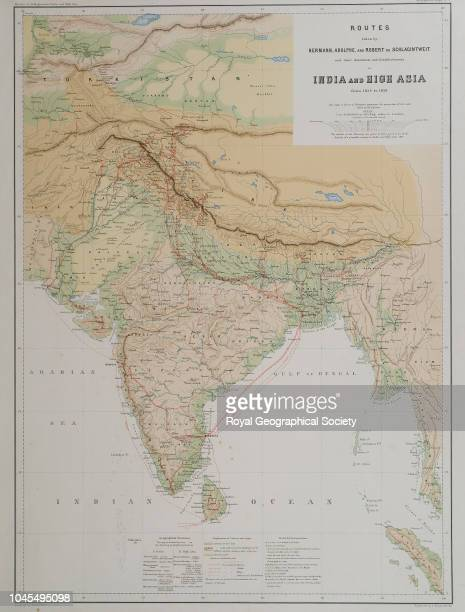 Routes taken by Hermann Adolphe and Robert de Schlagintweit and their assistants and establishments to India and High Asia from 1854 to 1858 Routes...