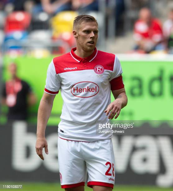 Rouven Hennings of Duesseldorf looks on during the Bundesliga match between Fortuna Duesseldorf and Hannover 96 at Esprit-Arena on May 18, 2019 in...