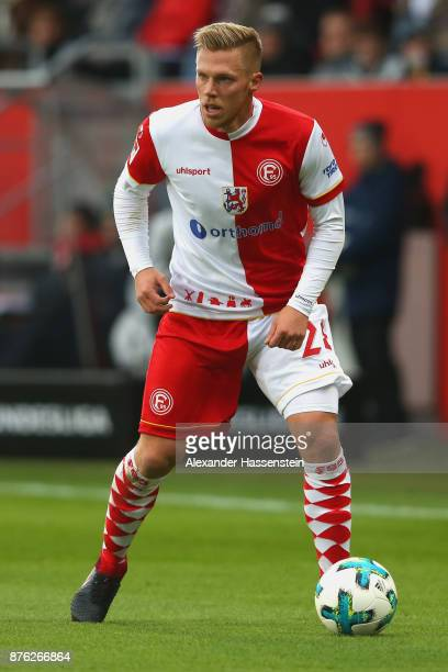 Rouwen Hennings of Duesseldorf runs with the ball during the Second Bundesliga match between FC Ingolstadt 04 and Fortuna Duesseldorf at Audi...