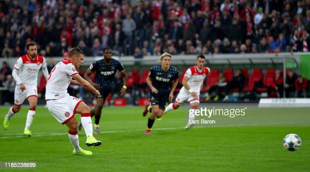 Rouwen Hennings of Duesseldorf scores his teams first goal from the penalty spot during the Bundesliga match between Fortuna Duesseldorf and 1. FC...