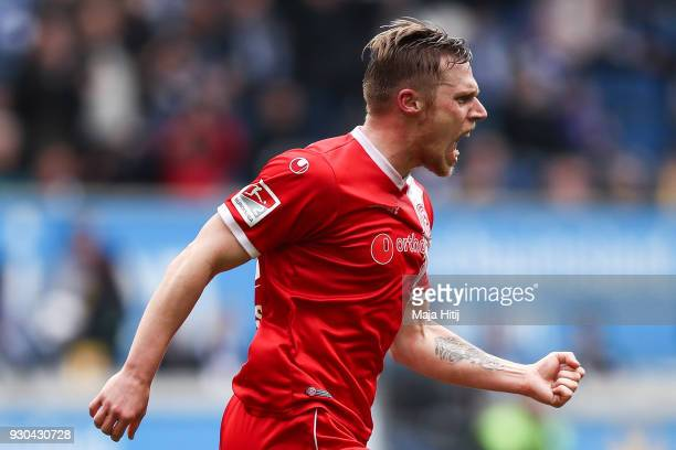 Rouwen Hennings of Fortuna Duesseldorf celebrates after scoring his teams first goal to make it 01 during the Second Bundesliga match between MSV...