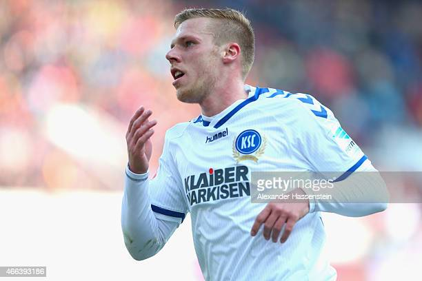 Rouwen Hennings of Karlsruhe celebrate scoring the 3rd team goal during the Second Bundesliga match between FC Ingolstadt and Karlsruher SC at Audi...