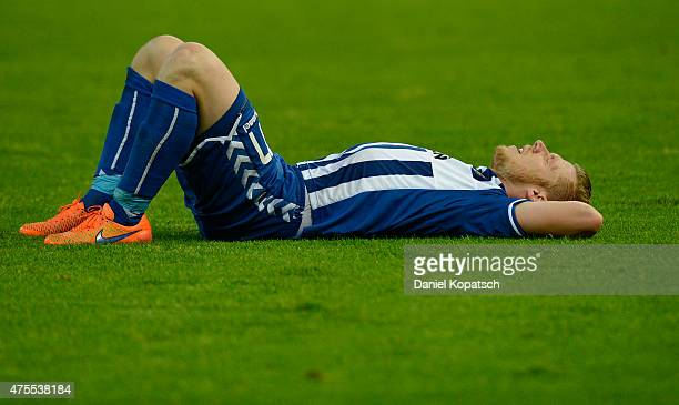 Rouwen Hennings of Karlsruhe reacts after the Bundesliga playoff second leg match between Karlsruher SC and Hamburger SV on June 1 2015 in Karlsruhe...