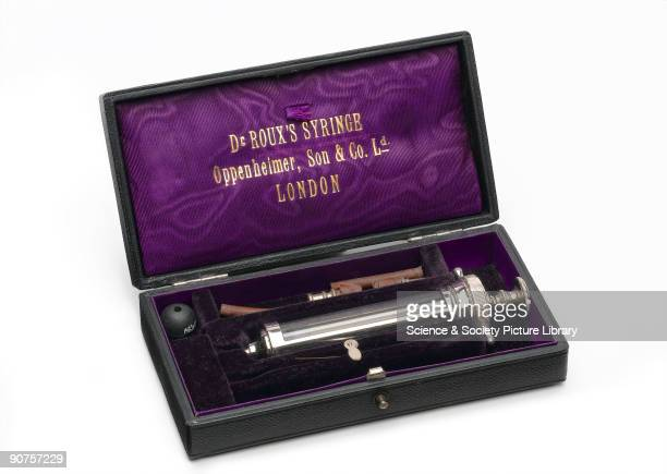 Roux hypodermic syringe for use with diphtheria antitoxin made by Oppenheimer Son Co London