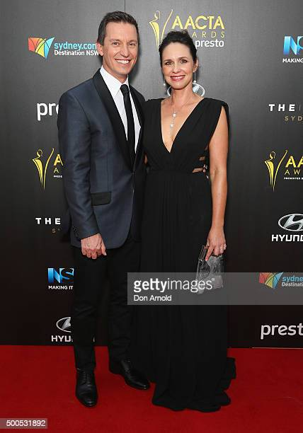 Rove McManus and Tasma Walton pose on the red carpet for the 5th AACTA Awards at The Star on December 9 2015 in Sydney Australia