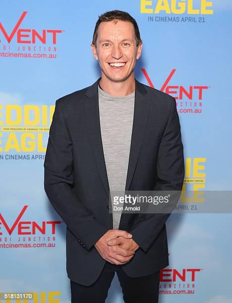 Rove McManus arrives ahead of the Eddie The Eagle screening at Event Cinemas Bondi Junction on March 30 2016 in Sydney Australia