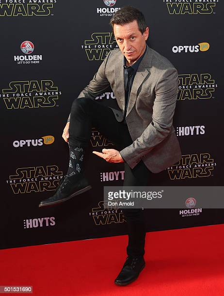 Rove McManus arrives ahead of the 'Star Wars The Force Awakens' Australian premiere on December 16 2015 in Sydney Australia