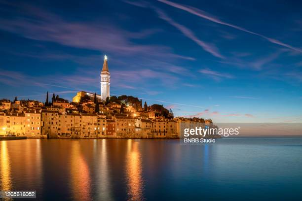rovinj old town with sunset, rovinj, croatia - mediterranean sea stock pictures, royalty-free photos & images