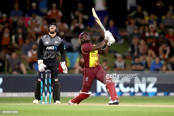 Rovman Powell of the West Indies bats during game three of the Twenty20 series between New Zealand and the West Indies at Bay Oval on January 3 2018...