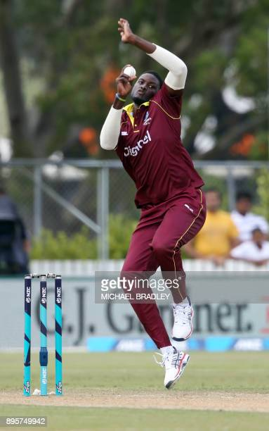 Rovman Powell of the West Indies bats during the first ODI cricket match between New Zealand and the West Indies at Cobham Oval in Whangarei on...