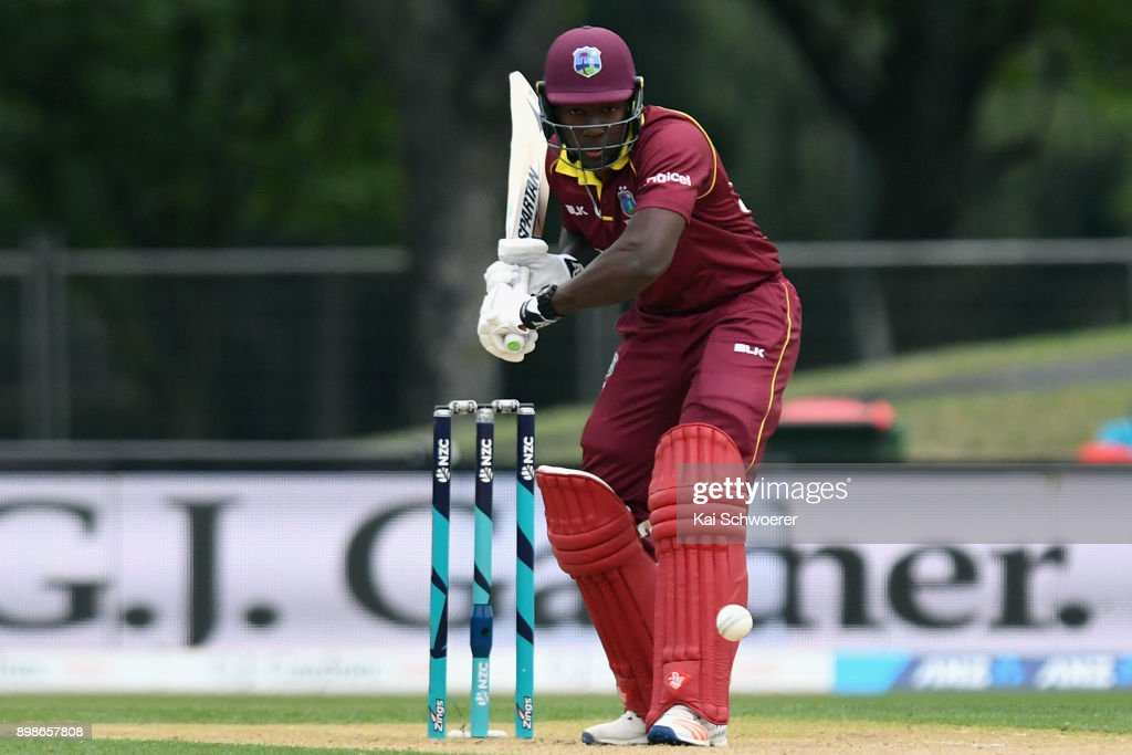 Rovman Powell of the West Indies bats during the One Day International match during the series between New Zealand and the West Indies at Hagley Oval on December 26, 2017 in Christchurch, New Zealand.