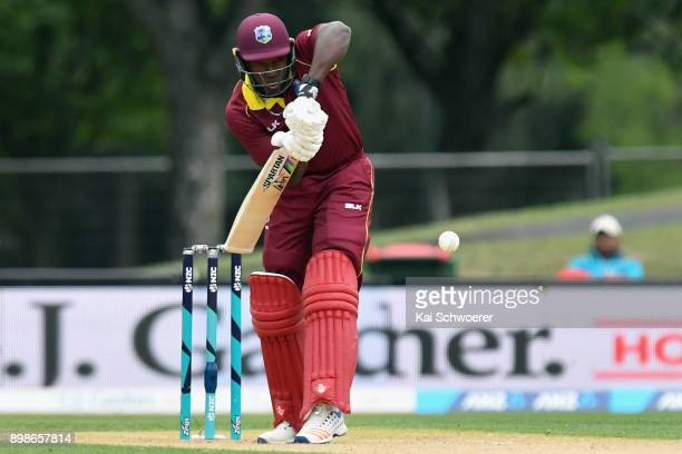 Rovman Powell of the West Indies bats during the One Day International match during the series between New Zealand and the West Indies at Hagley Oval...