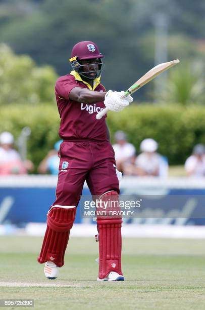 Rovman Powell of the West Indies celebrates his 50 runs during the first ODI cricket match between New Zealand and the West Indies at Cobham Oval in...