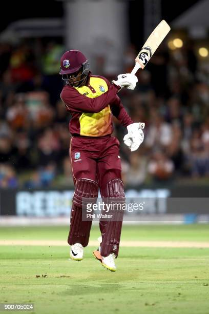 Rovman Powell of the West Indies leaves the field during game three of the Twenty20 series between New Zealand and the West Indies at Bay Oval on...