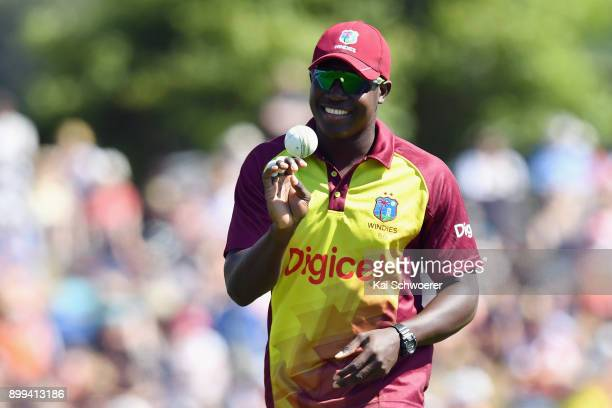 Rovman Powell of the West Indies looks on during game one of the Twenty20 series between New Zealand and the West Indies at Saxton Field on December...
